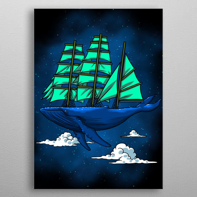 Whale sailboat metal poster