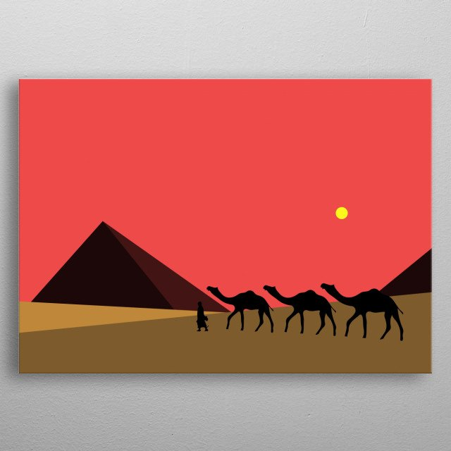 This is a minimal art work with a hidden meaning and a short story.shows calm desert, metal poster