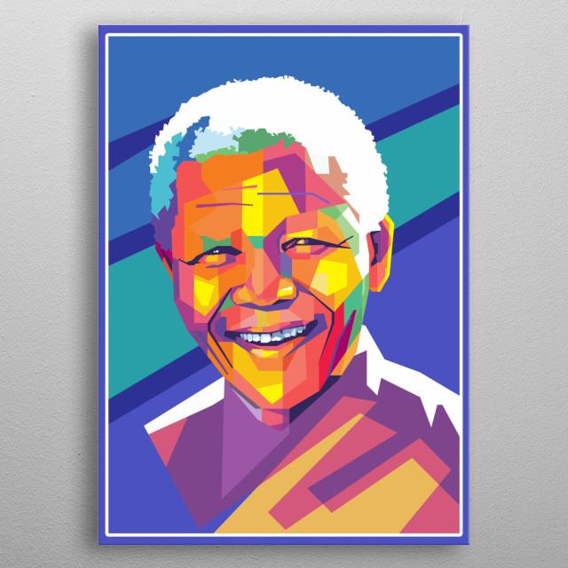 Nelson Mandela in WPAP metal poster