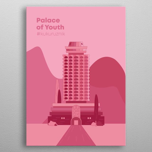 Illustration of building in Armenia, Created byarchitects Grachya Pogosyan,  Spartak Khachikyan, Artur Tarkhanyan metal poster
