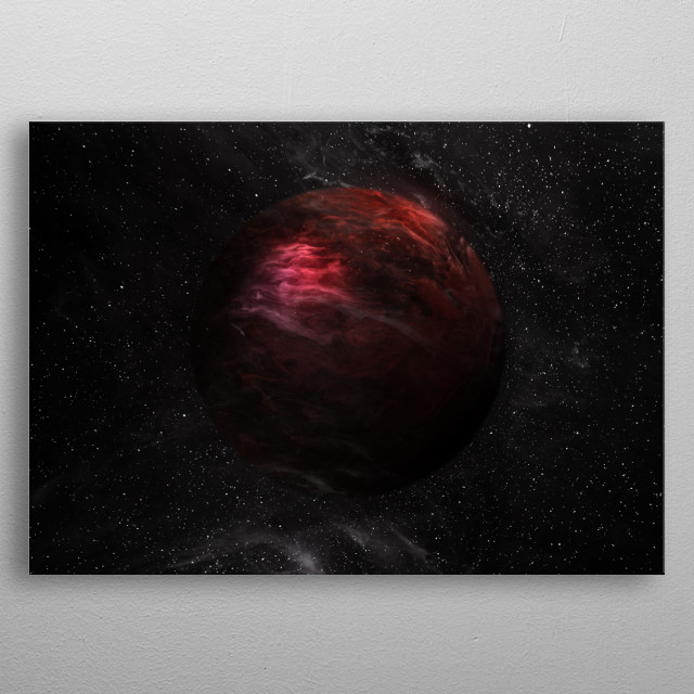A saturated red planet  metal poster