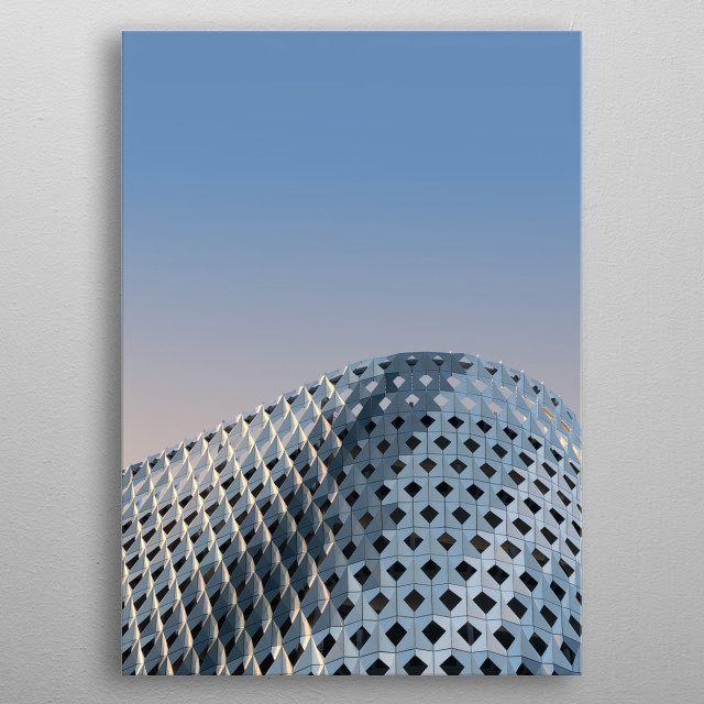 Beautiful parking hall wall at the Miami Design District against a warm, bright sky. metal poster