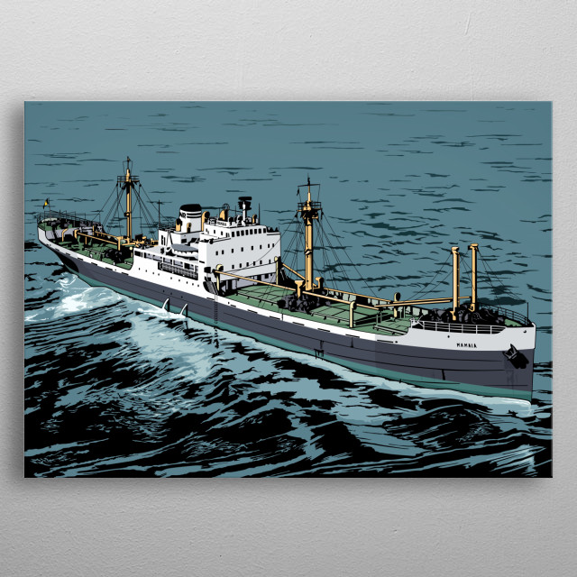 An illustration of a cargo boat metal poster
