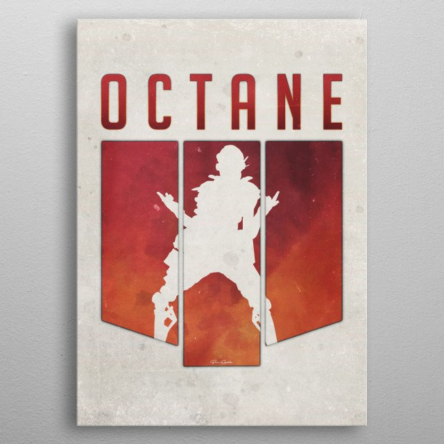 A minimalistic artwork of Octane from Apex Legends.  A simplistic design, using rusted red, and beige marble for the color palette.  metal poster