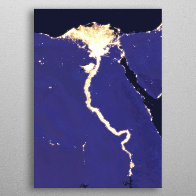 2016 NASA composite satellite image of the Nile River Delta in Egypt, captured at night. metal poster