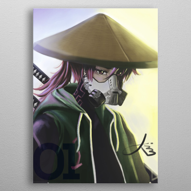 My own character inspired from a Japanese samurai with a touch of cyberpunk vibe. metal poster