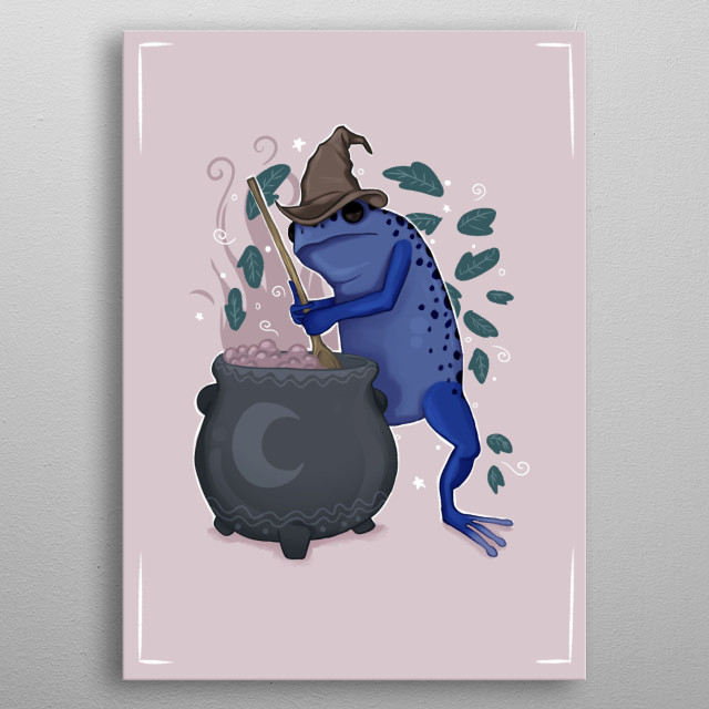 Illustration of a Frog's brewing ritual. metal poster