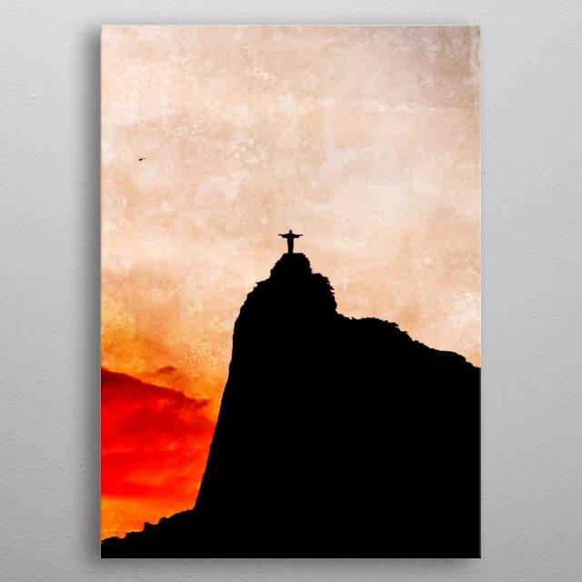 Sunset in Corcovado, Rio de Janeiro metal poster