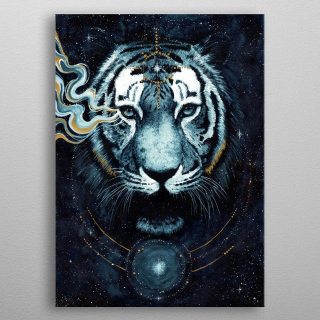 Watercolor tiger painting inspired by galaxy and darkness. metal poster