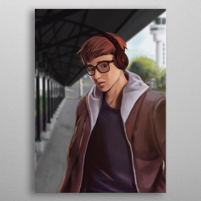 Illustration of a person listening to music while walking away from the airport. metal poster