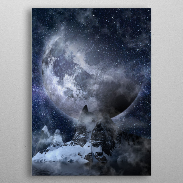 Photo collage of an imaginary planet- with mountains and snow metal poster