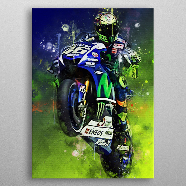 Valentino Rossi is a racer in the world motorbike grandprix championship after the era of Michael Doohan, with world championship titles  metal poster