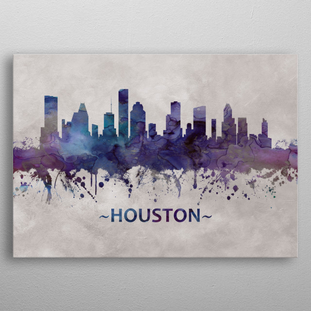 Blue watercolor skyline of Houston, a large metropolis in Texas, extending to Galveston Bay  metal poster