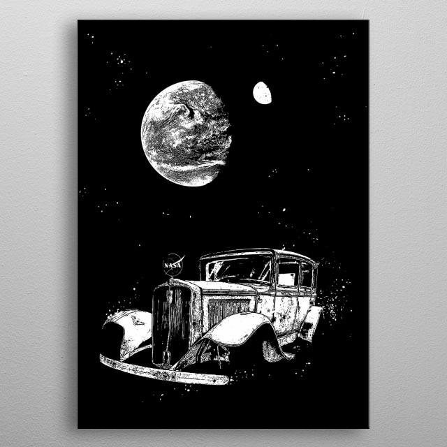 Interplanetary Voyager-Old Car-Spaceship-Astronomy-Fantasy-Nasa metal poster