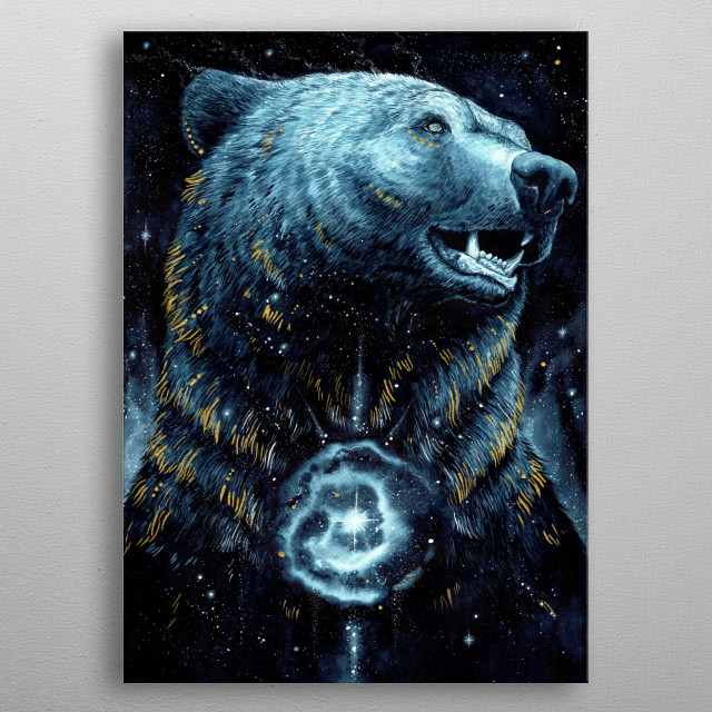 Watercolor Bear painting inspired by galaxy and darkness. metal poster