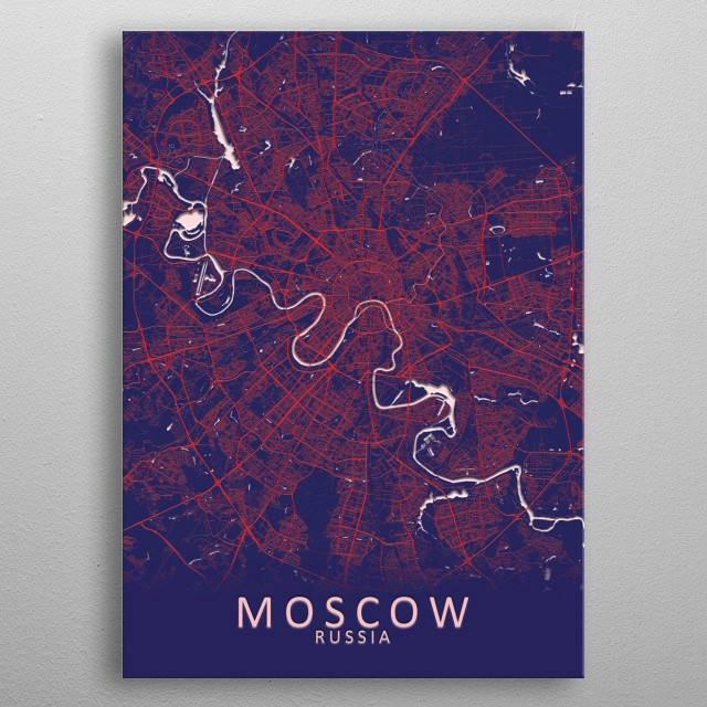 Moscow Russia City Map metal poster