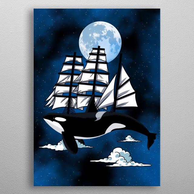 Fantasy Killer Whale metal poster