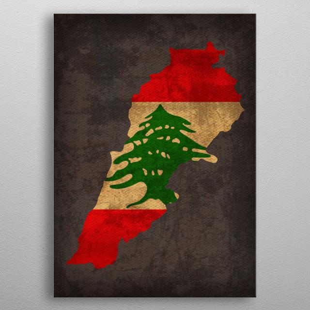 Lebanon Country Flag Map metal poster