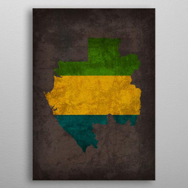 Gabon Country Flag Map metal poster
