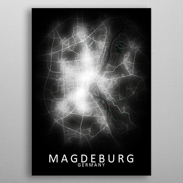 Magdeburg Germany City Map metal poster