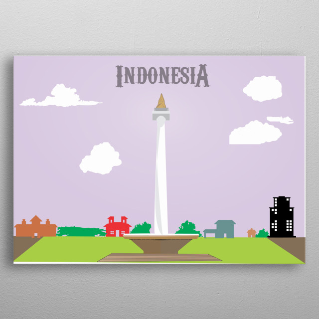 """National monument of Indonesia in Jakarta called """"Monas"""" metal poster"""