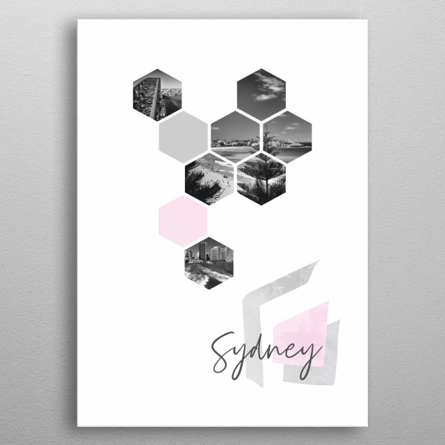 Cityscapes from Sydney in geometric shapes showcase perfectly each single moment. Discover Harbour Bridge, Bondi Beach, Downtown skyline. metal poster