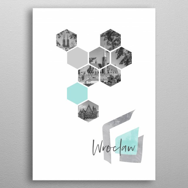 Popular monochrome cityscapes from Wroclaw in geometric shapes. Discover the Cathedral, Church of the of the Holy Cross, Old Town Hall. metal poster