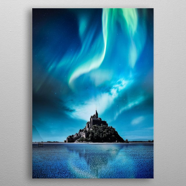 Aurora Over a Castle metal poster