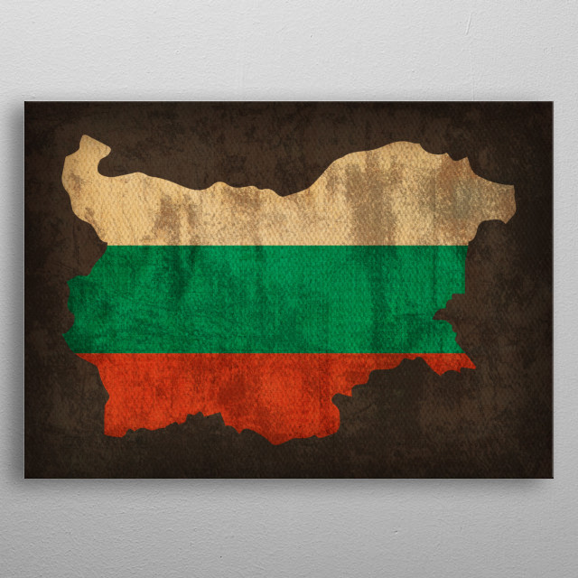 Bulgaria Country Flag Map metal poster