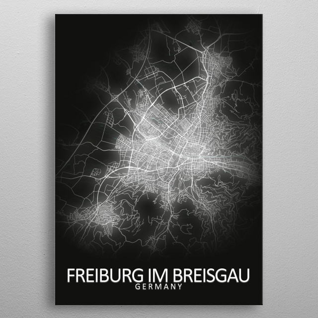 Freiburg Germany City Map metal poster