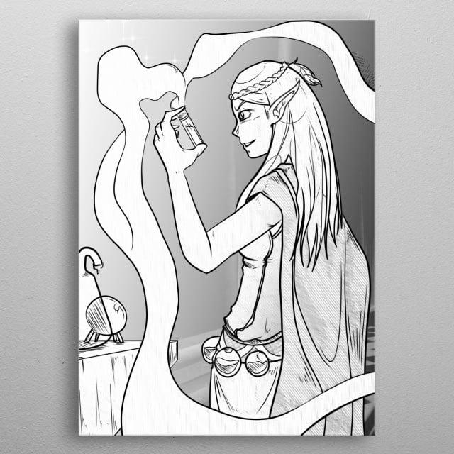 The Alchemist works on her serum. metal poster