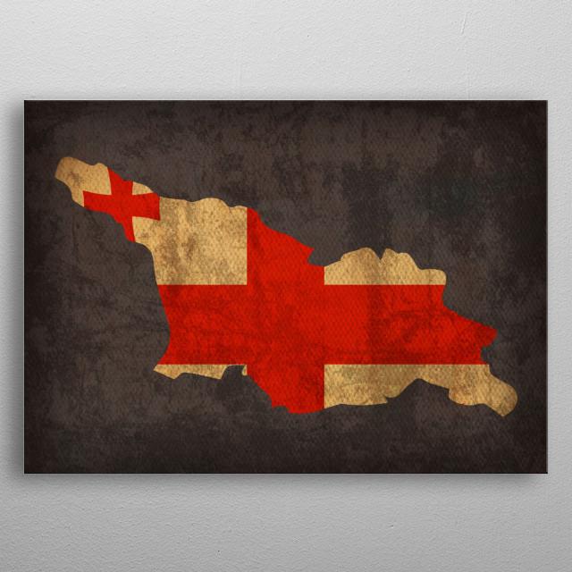 Georgia Country Flag Map metal poster