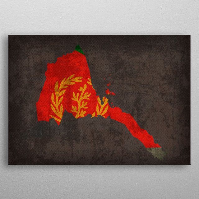 Eritrea Country Flag Map metal poster
