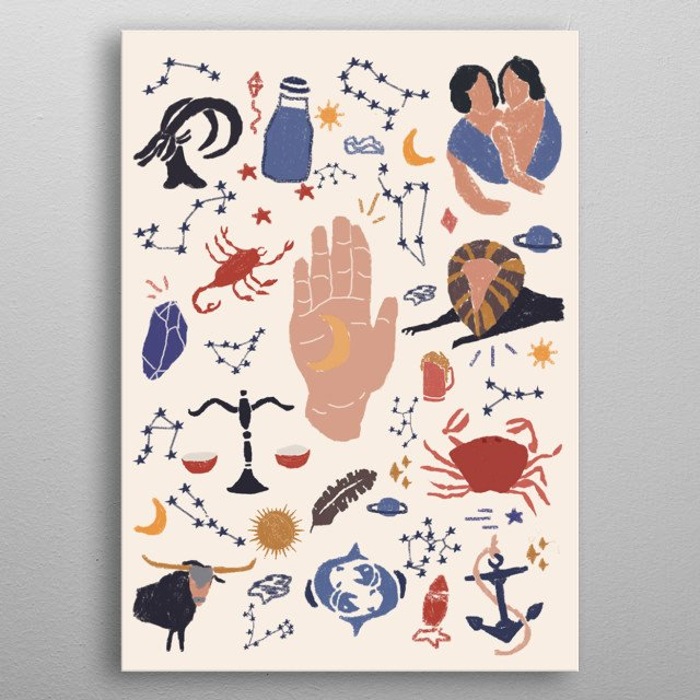 """Illustration of the signs during an astrological phenomenon """"mercury retrograde"""" where things are usually at a rough path.  metal poster"""