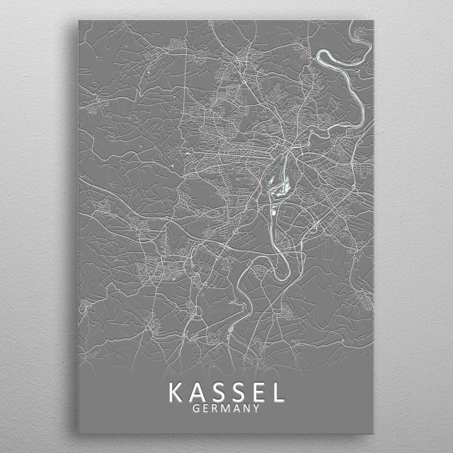 Kassel Germany City Map metal poster