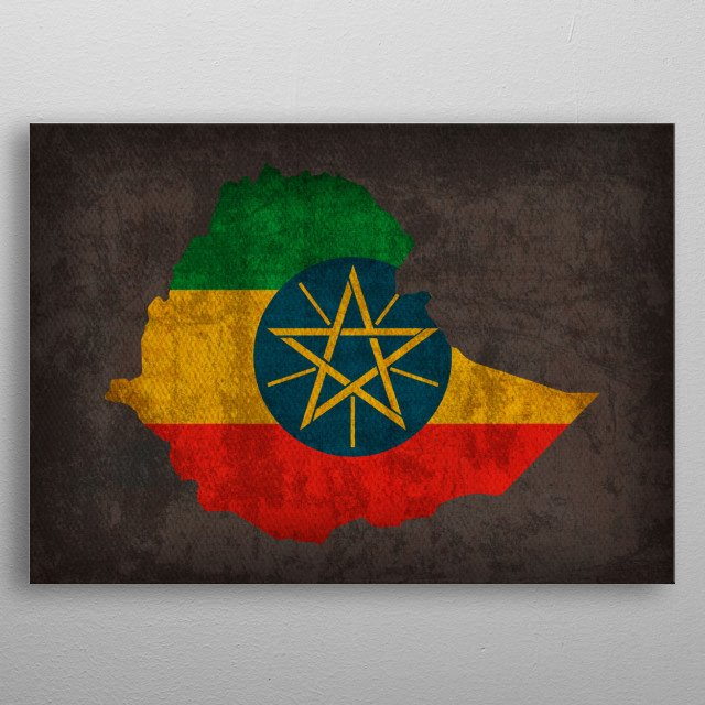 Ethiopia Country Flag Map metal poster