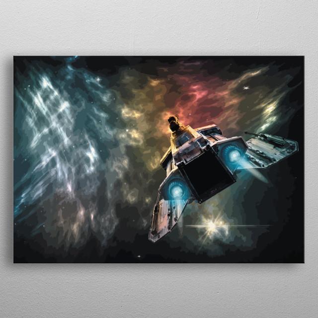 Spaceship travelling to nebula. metal poster
