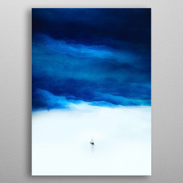 Boat Isolation is about a lonely ship sailing trough a ocean of fantasy and a beautiful blue sky. metal poster