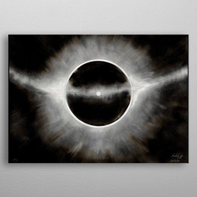 Illustration of a drawing  (Ink and pencil on black paper) depicting the luminous atmoferic phenomenon of parhelion.  Author: Michele Vitti metal poster