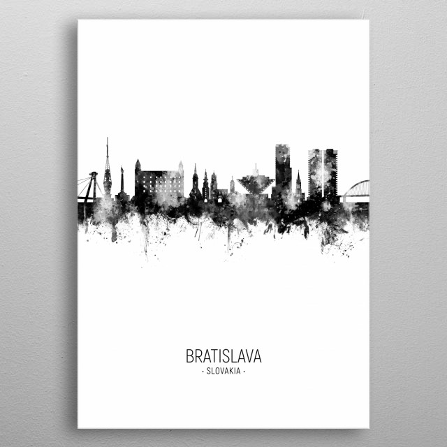 Watercolor art print of the skyline of Bratislava, Slovakia metal poster