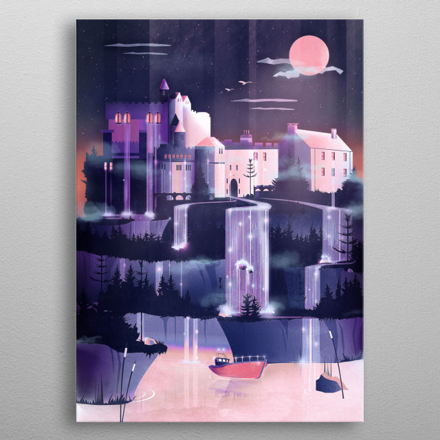 A medieval castle lies on a fairy waterfall hill. Its gothic, dark and epic scenery is a perfect place for a vampire and pastel goth lovers. metal poster
