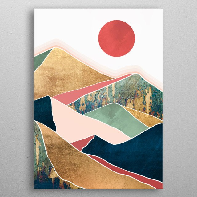 Abstract landscape depicting spring dusk with gold, pink, blue and green metal poster