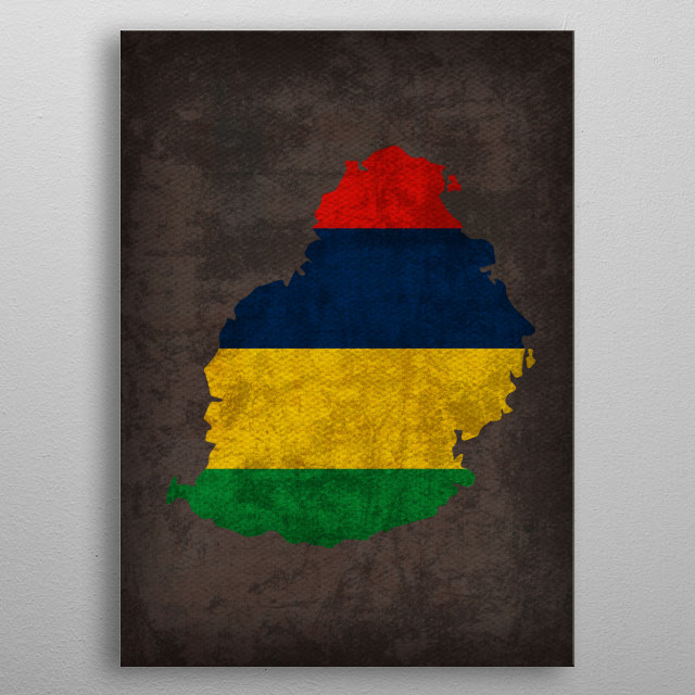Mauritius Country Flag Map metal poster