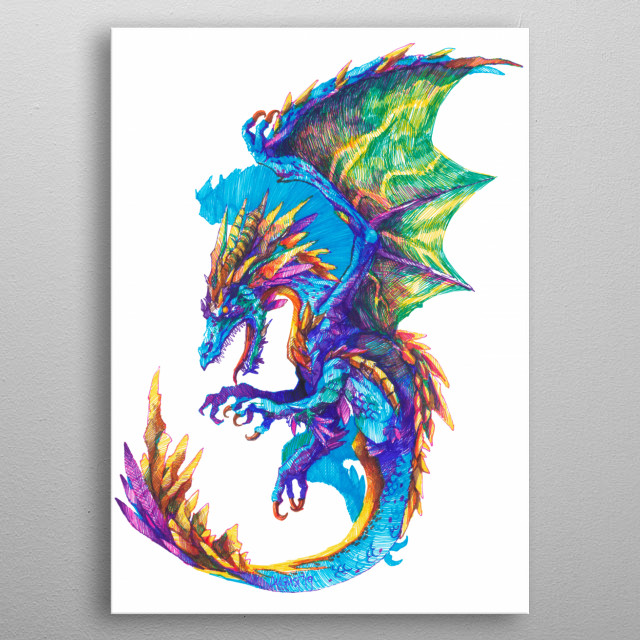 Mighty roaring dragon. Drawn with fineliners (0,4 size) on A4. metal poster