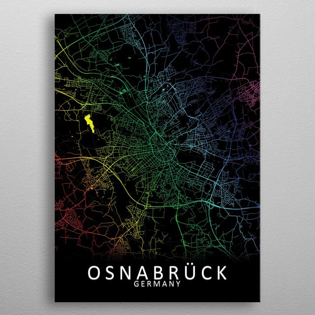 Osnabruck Germany City Map metal poster