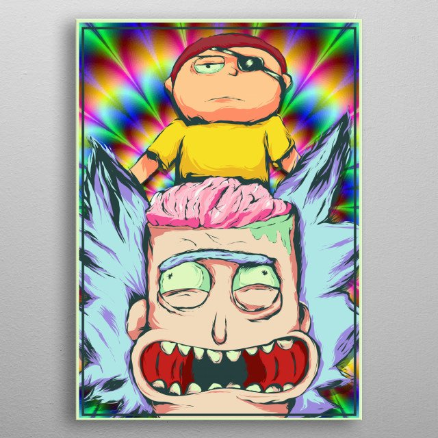 Design inspired by rick and morty of the evil character Morty metal poster