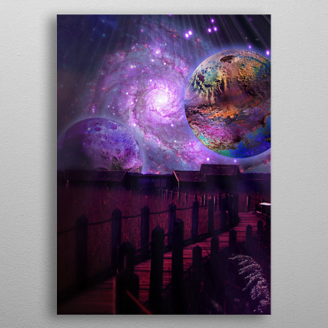 A view from birdbridge. Viewing up to the skye and facing the nebulas, galaxies and planets. metal poster