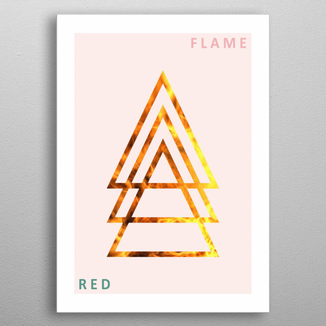 Stylization of 4 natural elements metal poster