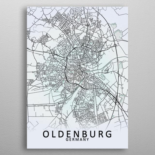Oldenburg, Germany City Map metal poster