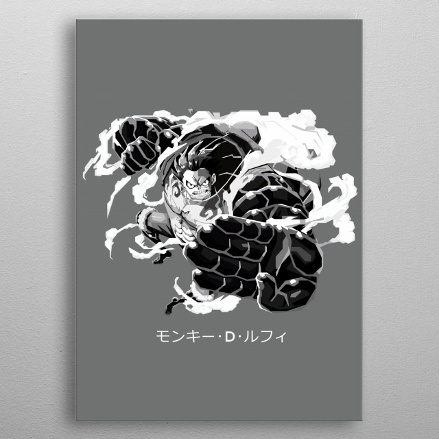 An illustration of main character in one piece, Luffy. metal poster